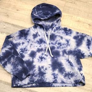Tie dye drawstring cropped hoodie